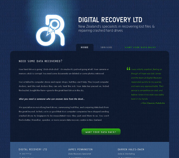 The finished product: Digital Recovery's new website