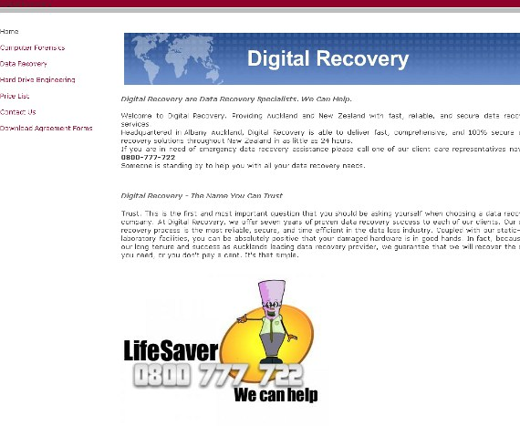 The old Digital Recovery website, before the rebrand