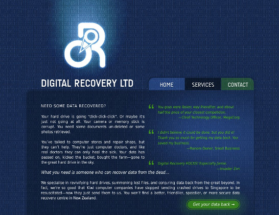 The mockup for the new Digital Recovery website